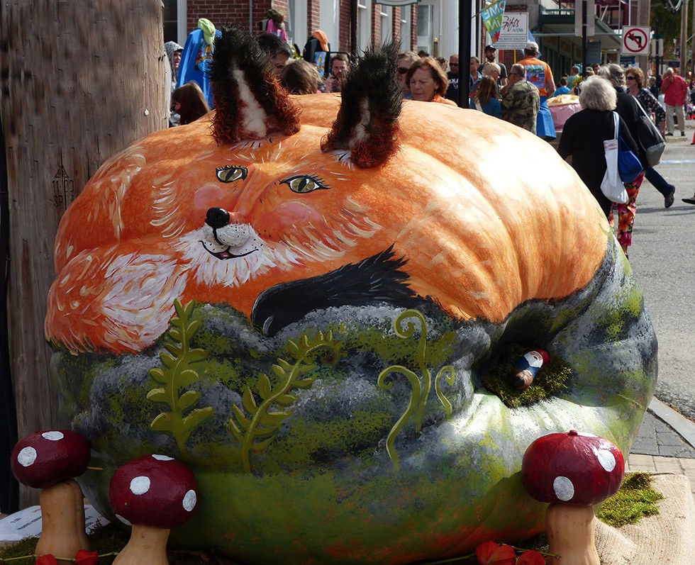 Purr-fectly Painted...1,200 pound giant pumpkin work of art