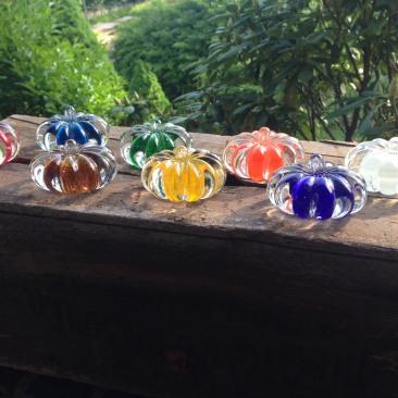 Brilliant glass pumpkin paperweights